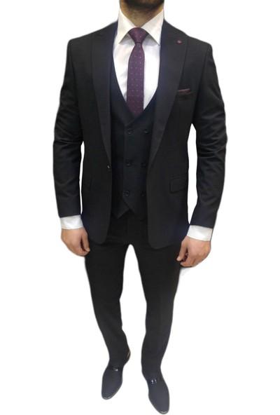 Novus Likralı Siyah Yelekli Erkek Takım Elbise Slim Fit