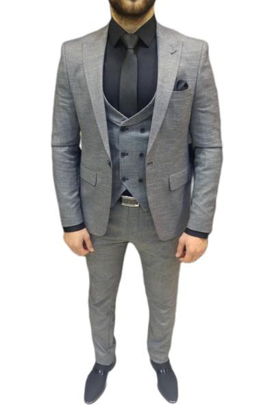 Novus Gri Kendinden Desenli Yelekli Erkek Takım Elbise Slim Fit