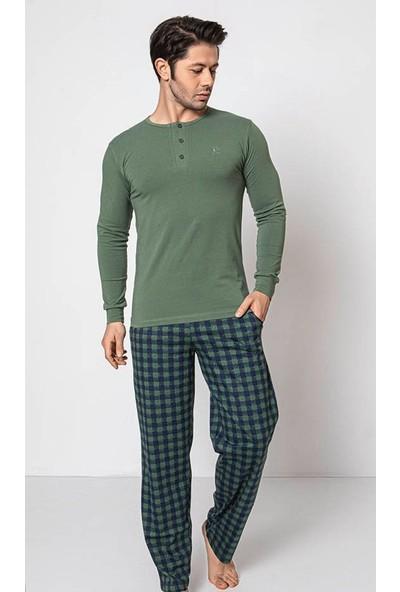 Akare 349 Pamuklu Mevsimlik Cepli Erkek Pijama Takımı Ev Pijaması