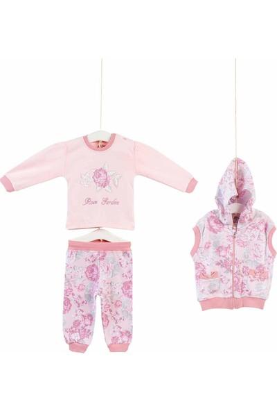 Aziz Bebe Kız Bebek Desenli 3'lü Yelekli Takım 3-24 Ay AZZ003118