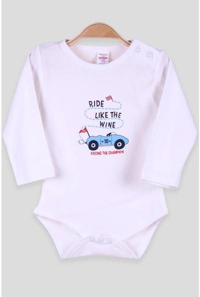 Breeze Erkek Bebek Çıtçıtlı Body Yarış Arabası Baskılı Beyaz (9 Ay-1.5 Yaş)