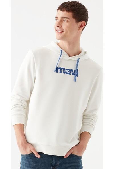 Mavi Mavi Logo Baskılı Beyaz Sweatshirt