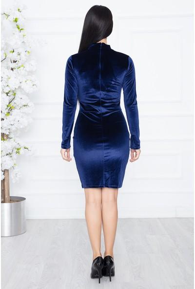 Kalopya 3974 Melan Kadife Elbise