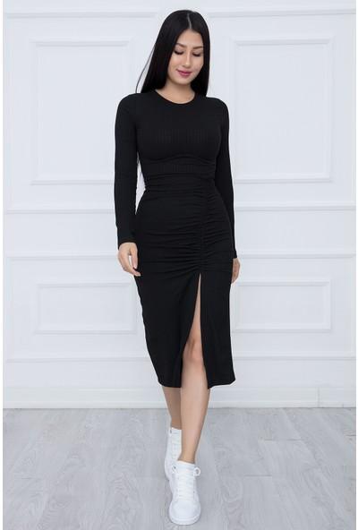 Kalopya Kadın Önü Büzgülü Yırtmaçlı Kaşkorse Elbise DKS14