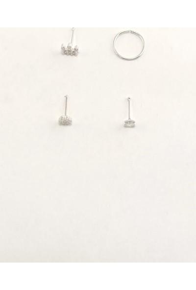 Takıparkxs 925 Ayar Zirkon Taşlı Dörtlü Gümüş Hızma Set