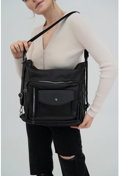 Shule Bags Yıkama Deri Sırt ve Omuz Çantası Tina Siyah