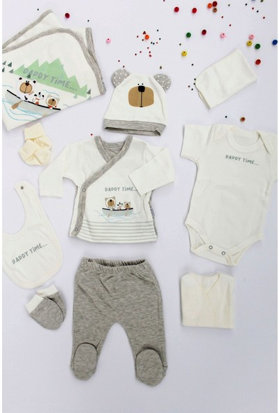 Sebi Bebe Erkek Bebek Gri Pamuklu 10'lu Hastane Çıkışı 9178