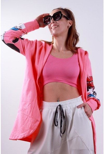 Hot Fashion Micky Baskı Detay Hırka