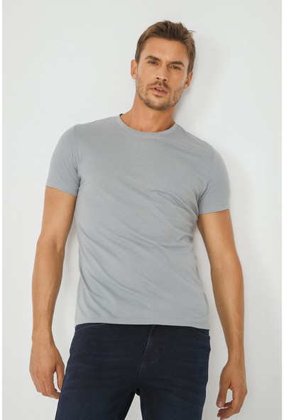 Avva Erkek Gri Bisiklet Yaka Düz T-Shirt E001000