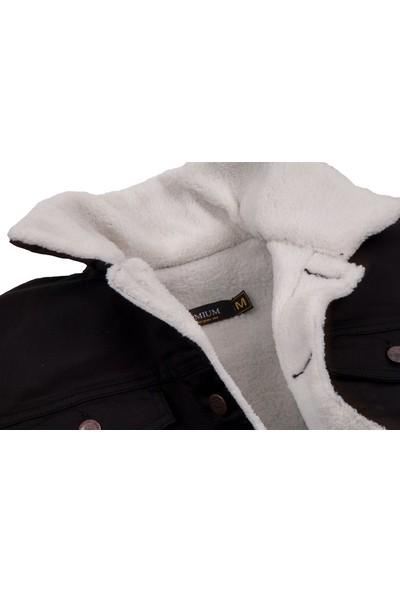Serseri Jeans Siyah Renk Içi Beyaz Kürklü Erkek Kot Mont