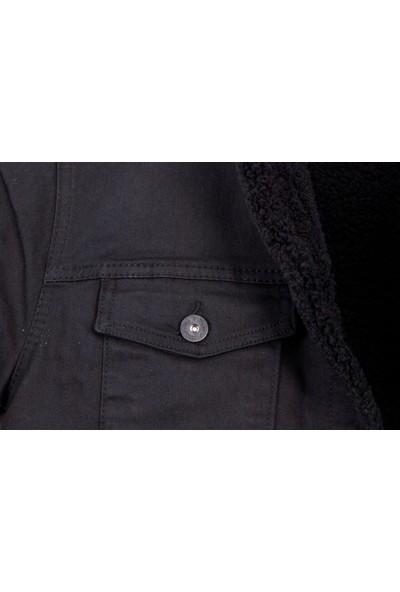 Serseri Jeans Siyah Renk Içi Siyah Kürklü Erkek Kot Mont