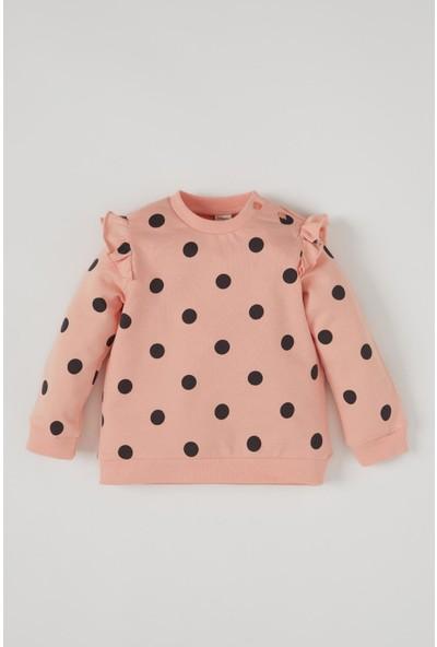 DeFacto Kız Bebek Puantiye Desenli Fırfır Detaylı Sweatshirt