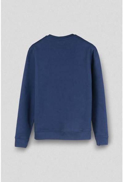 Vogors Mavi Basic Sweatshirt Normal Kesim