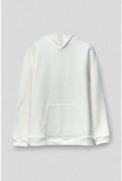 Vogors Beyaz Basic Hoodie Rahat Kesim