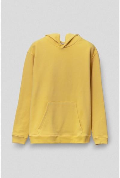 Vogors Sarı Basic Hoodie Rahat Kesim