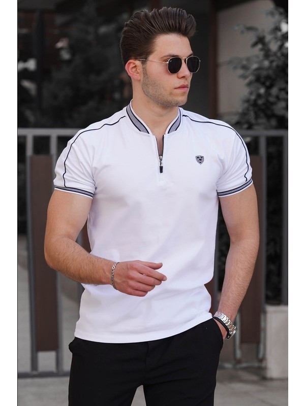 Madmext Beyaz Polo Yaka Erkek Tişört 9281