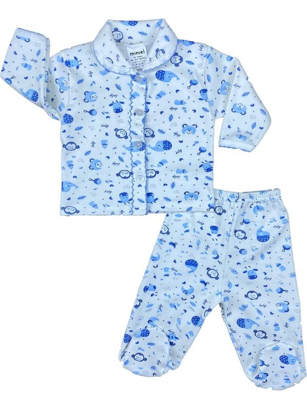 Miniel Erkek Bebek Mavi Animals Baskılı Penye Pijama Takımı