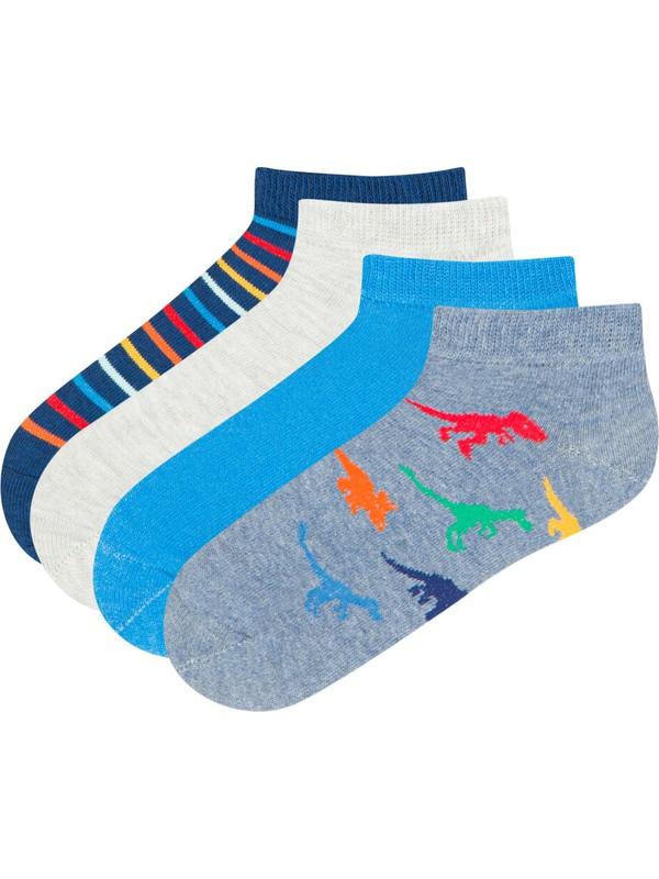 Penti Çok Renkli Erkek Çocuk Colorful Anımals 4lü Patik Çorap