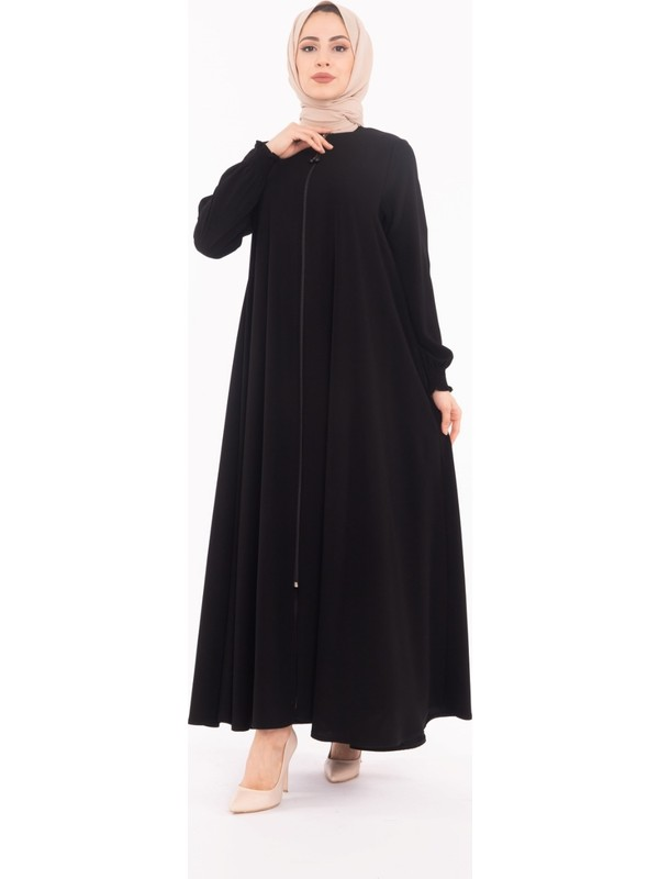 Yaprak Kadın Ferace-Siyah Ferace-Kadın Elbise -Bayan Ferace-Geniş Ferace-Battal Ferace-Uzun Ferace-Tunik