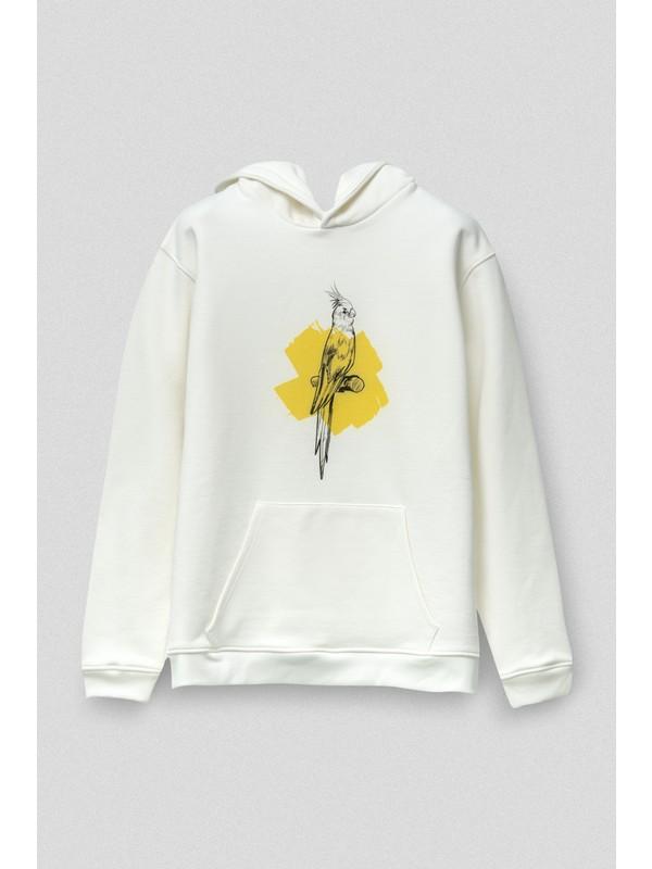 Vogors Yellow Bird Hoodie Önü Baskılı Rahat Kesim