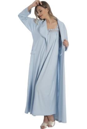 Akala Akala-Dy (2 Li) Pamuklu Penye Kadın Sabahlık Gecelik 9016
