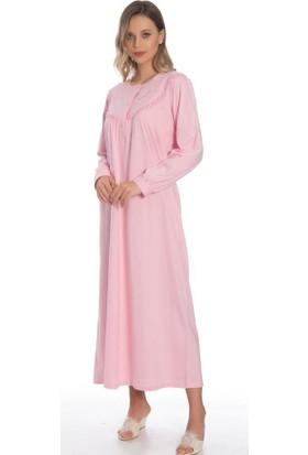 Akala Akala-Dy Pamuklu Uzun Kol Penye Kadın Gecelik 9001
