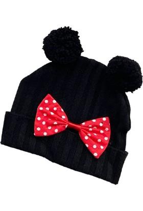 Güneş Bebe Mickey Triko Şapka Siyah