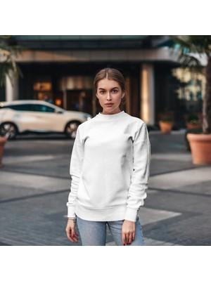 Fandomya Minimalist Mysfery Beyaz Sweatshirt