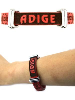 Anahtarlık Sepeti Adige Deri Bileklik Kırmızı (Bayan)