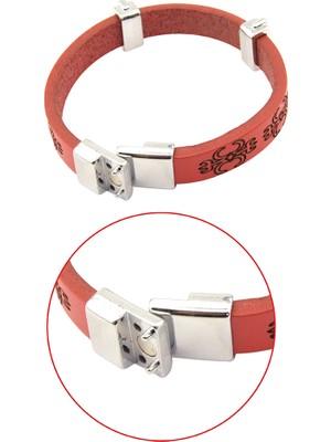 Anahtarlık Sepeti Adige Deri Bileklik Kırmızı (Erkek)
