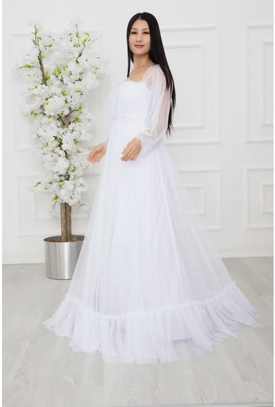 Kalopya Bayan Uzun Tül Dantel Elbise 13326