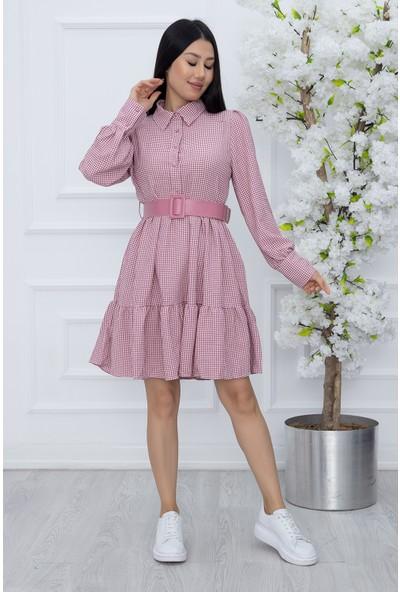 Kalopya Bayan Düğmeli Klasik Yaka Elbise 8004