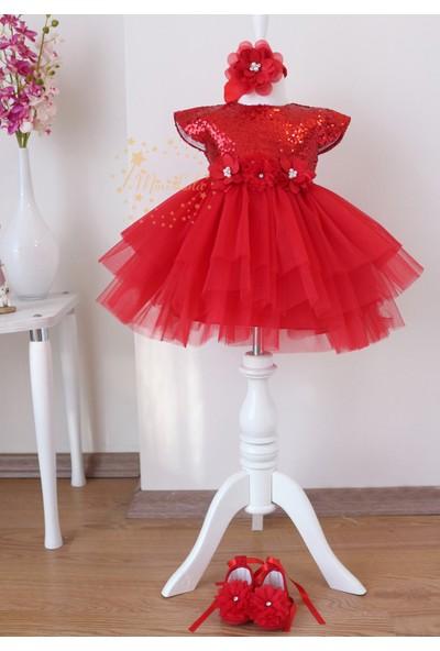 Lilipoupee Kırmızı Payet Kumaşlı Çiçekli Kabarık Tül Etekli Elbise Mevlüt Seti