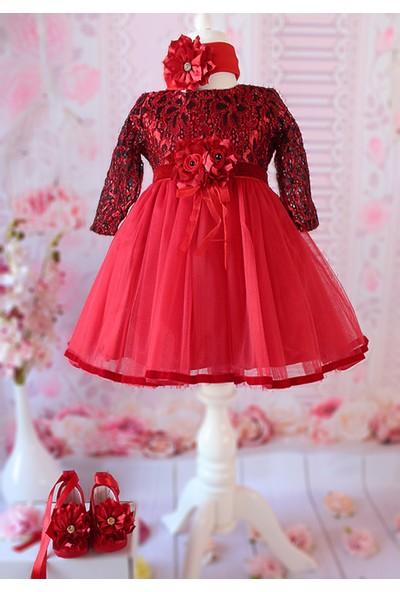 Lilipoupee Kırmızı Siyah Renk Dantelli Kadife Detaylı Zarif Elbise Seti