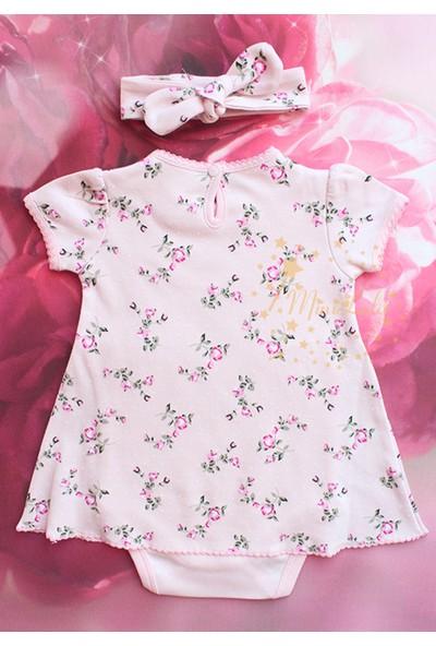 Lilipoupee Eda Baby Pembe Renk Üzeri Çiçek Desenli Zıbınlı Elbise Seti