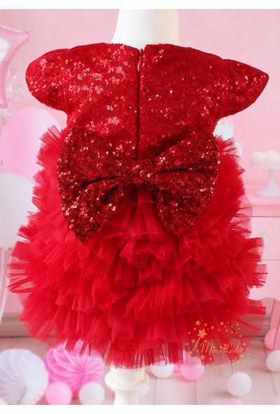 Lilipoupee Kırmızı Payet Fiyonklu Katlı Tül Detaylı Zarif Elbise Takımı
