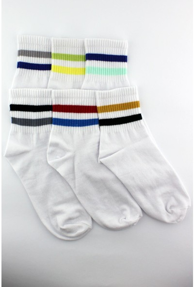 Trick Or Treat 6'lı Paket Farklı Renklerde 2 Çizgili Yarım Konç Erkek Beyaz Çorap