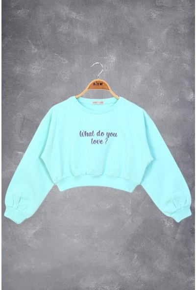 Toontoy Kız Çocuk Basklı Crop Sweatshirt