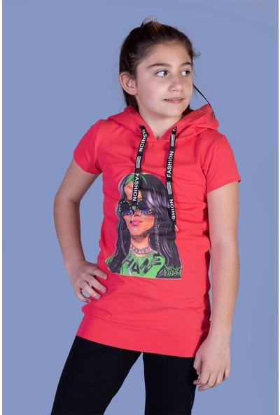 Toontoy Kız Çocuk Billie Eilish Baskılı Kapüşonlu Tişört