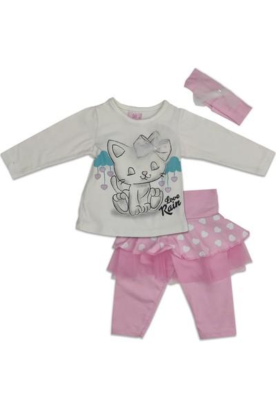 Salıncak Pembe Kedi Desenli Kız Bebek Takımı