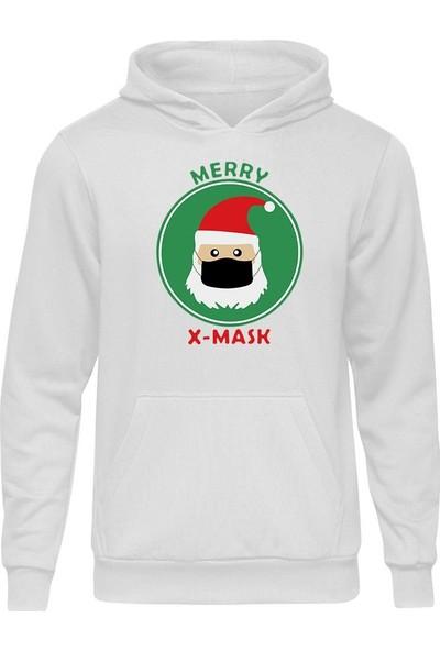 Fandomya Yılbaşı Merry x Mask Beyaz Kapşonlu Hoodie