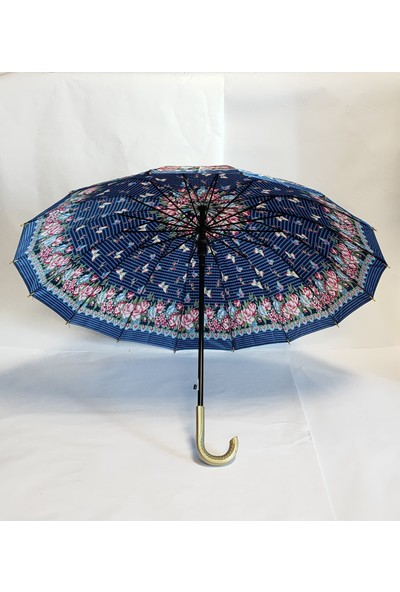 Çeşitli Renklerde ve Desenlerde Baston Şemsiyeler