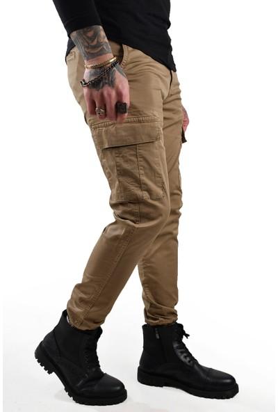 Deepsea Bej Dar Paça Paçası Lastikli Kargo Cepli Gabardin Pantolon 210015G