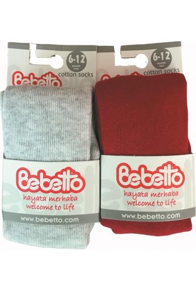 Bebetto Kız Erkek Bebek Klasik Düz Penye 2li Külotlu Çorap