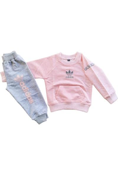 Seçkin Baby Renkli Nakışlı Logolu Cepli Alt Üst Pamuklu Kumaş Kız ve Erkek Bebek Çocuk Eşofman Takımı