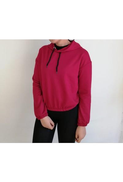 Vava Kadın Kapüşonlu Beli Lastikli Beyaz Sweatshirt
