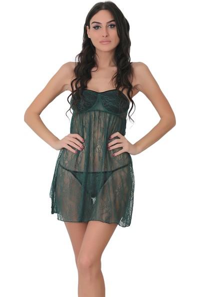 Culotte Kadın Yeşil Dantel Fantezi Gecelik