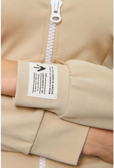 Setre Bej Rayon Fermuar Detaylı Bedene Oturan Elbise