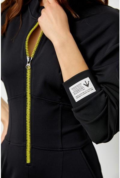 Setre Siyah Rayon Fermuar Detaylı Bedene Oturan Elbise