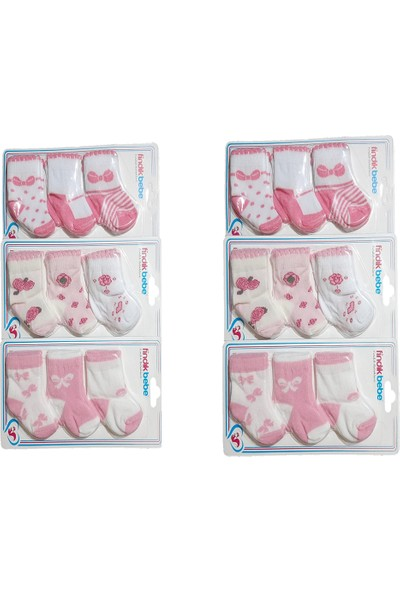 Fındık Baby Kız Bebek Modellerinde 18 Çift Çorap
